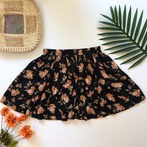 Brandy Melville dark floral skater skirt